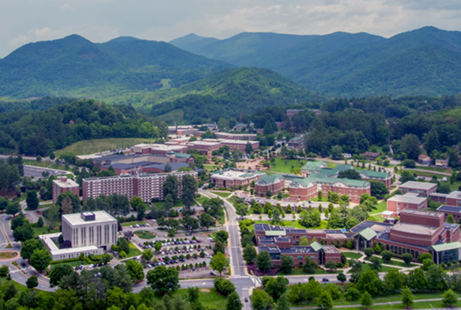 An aerial shot of WCU's Cullowhee Campus