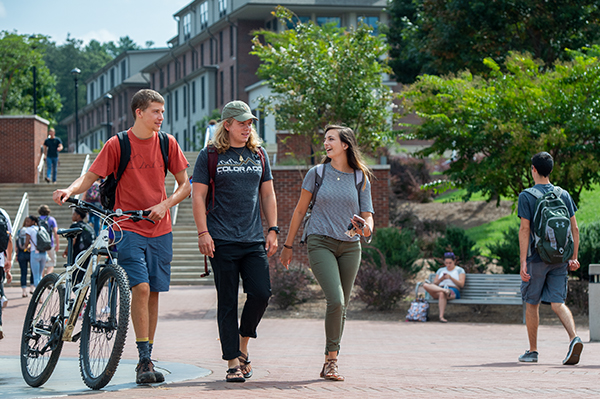 Students walking through the quad on campus