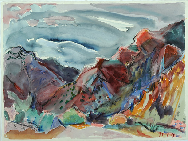 Jane Culp, Narrow Earth Trail, watercolor and pencil on paper, 1993, 22 x 30 inches, Gift of the Artist