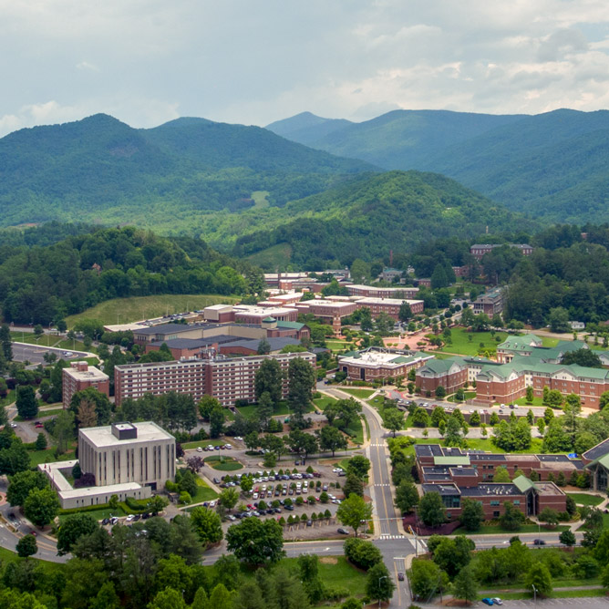 view from the sky of WCU's Cullowhee campus with mountains in the background